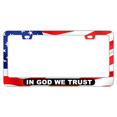 DZGlobal American Flag License Plate Frame Red Flags Car Frames Us Style License Plates Holder for Girl Women Men (GOD): Automotive