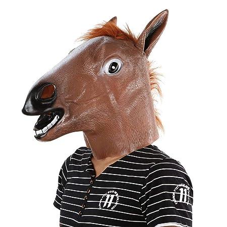 YJIUJIU Caballo Cabeza Máscara Látex Animal Traje Prop ...
