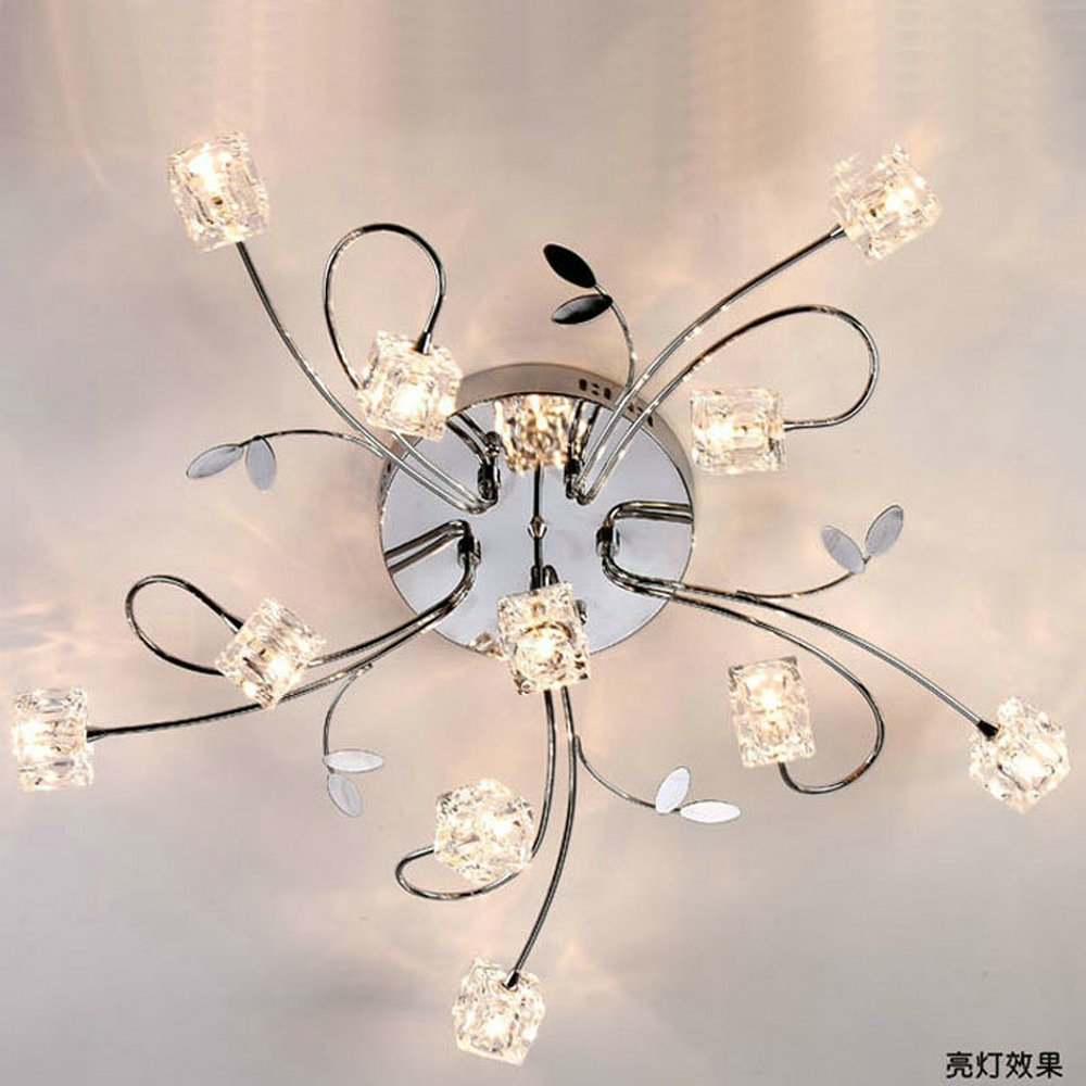 Dinggu flush mount modern dimmable ceiling chandelier lighting with 11 lights led bulbs and remote controller included dinggu flush mount modern dimmable ceiling chandelier lighting with 11 lights led bulbs and remote controller included amazon aloadofbal Images