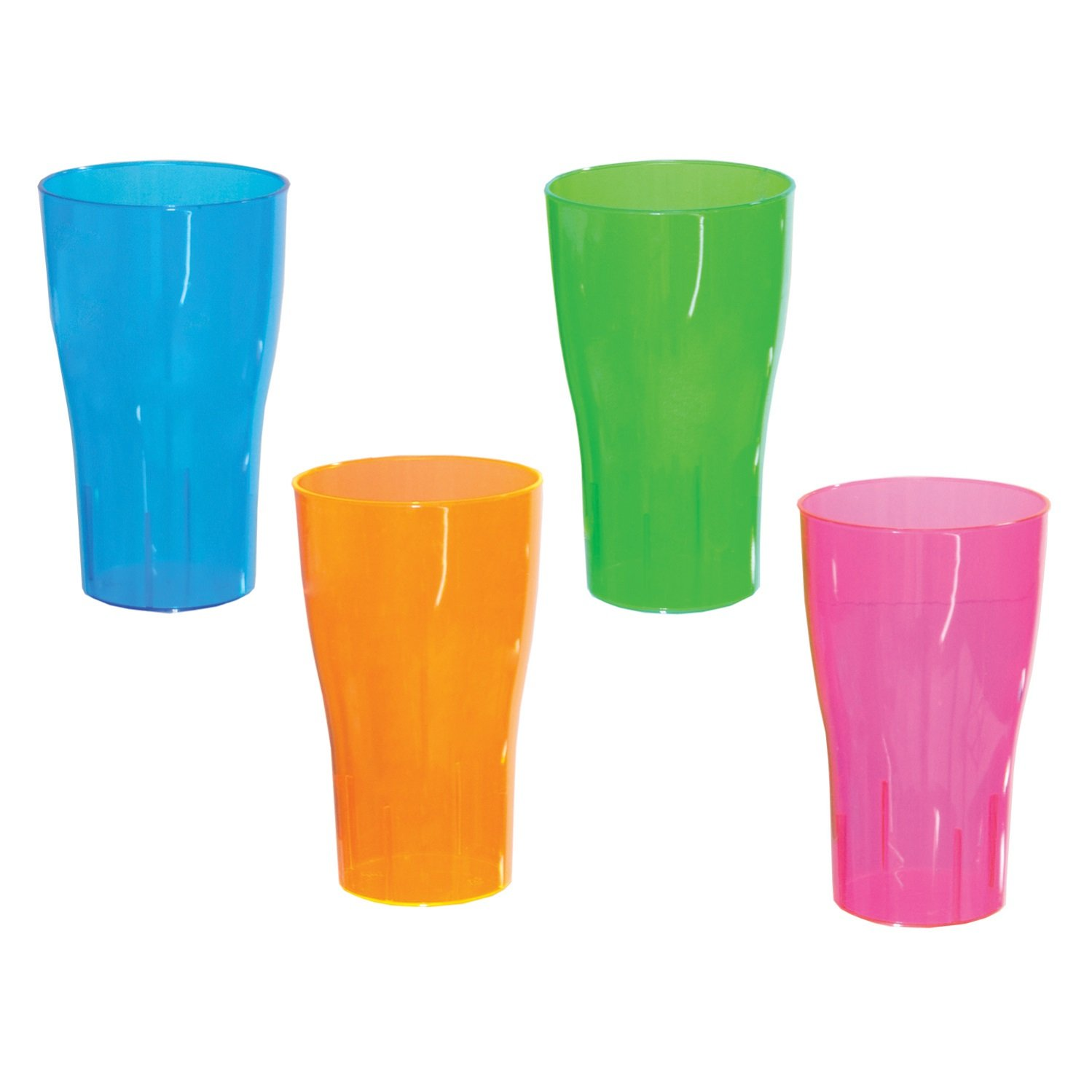 Party Essentials 10-Count Hard Plastic 16-Ounce Party Cup Pint Glasses, Assorted Neon