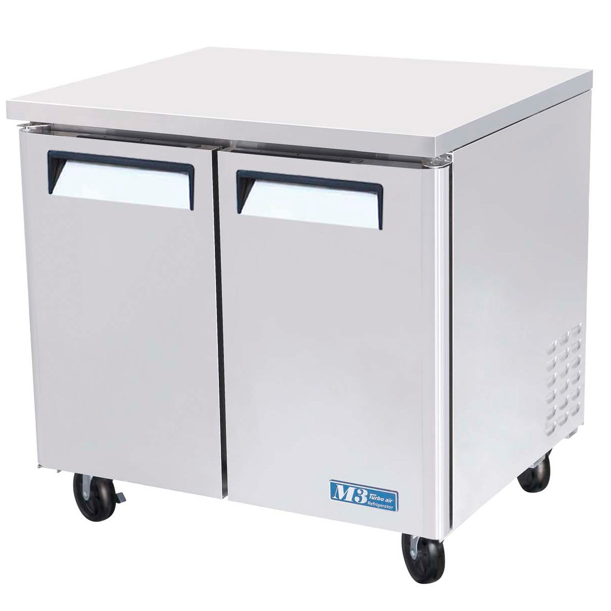 MUR36 9.5 cu. ft. M3 Series Undercounter Refrigerator with Efficient Refrigeration System Hot Gas Condensate System High Density PU Insulation and PE Coated Adjustable Shelves: Stainless Steel Turbo Air Inc