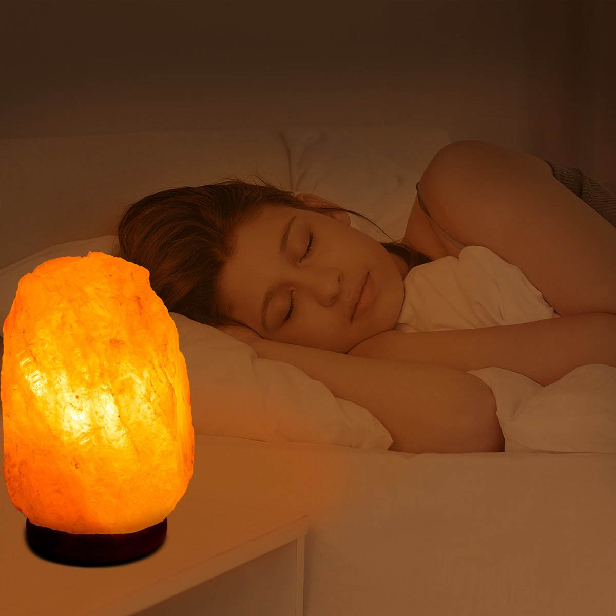 Haraqi Salt lamp Himalayan Salt Rock Lamps Hand Carved Natural Crystal Salt lamp with Wood Base,Includes Dimmer Switch and UL-approved Bulb