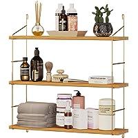 Estantería de pared de madera, moderna estantería flotante con 3 estantes, diseño industrial, estantería para libros, decoración,…