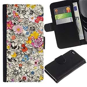 EuroTech - Apple Iphone 4 / 4S - Busy Floral Pattern Ink Pen Drawing Petals - Cuero PU Delgado caso Billetera cubierta Shell Armor Funda Case Cover Wallet Credit Card