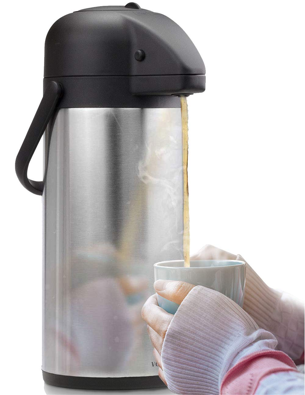 Airpot Coffee Carafe - Thermal Beverage Dispenser (102 oz.) By Vondior. Insulated Stainless Steel Coffee Thermos Urn For Hot/Cold Water, Pump Action Airpot, Party Chocolate Drink