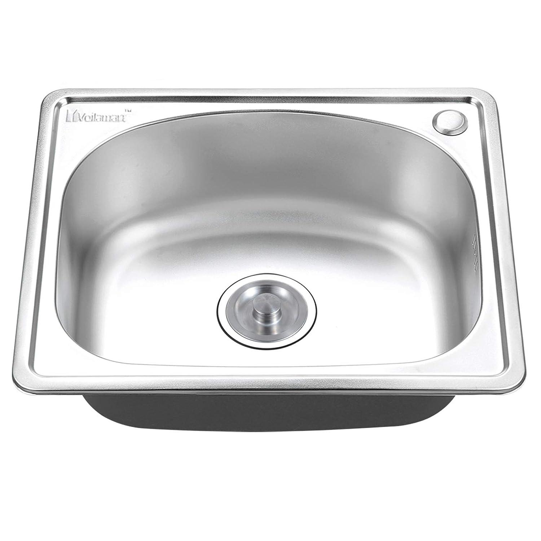 Kitchen Sink, Voilamart 1.0 Single Bowl Stainless Steel Square Kitchen Sink for Top-Mount Under-Mount Installation, 500x416x200mm