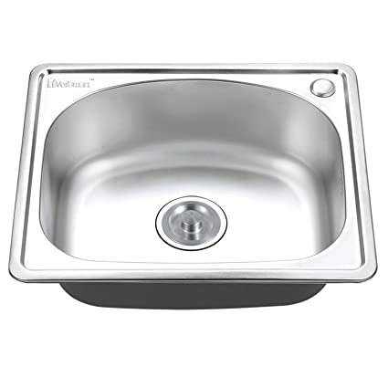 Small Round Single Bowl Kitchen Stainless Steel Sink Sinks Plumbing Home Waste