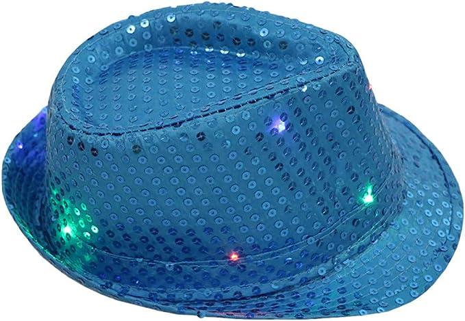 WHSHINE Unisex LED Beleuchtet H/üte Pailettenhut Blinklicht Leuchten Bunten Pailletten Unisex Party Hut Disco-Hut Partyhut Glitzerhut Glitter Classic Hat H/üte Vintage H/üte