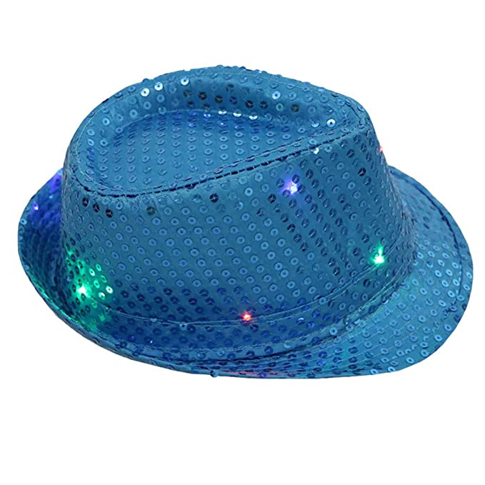 Gusspower Gorra de Fiesta con Lentejuelas y LED Iluminación, Unisex de Adulto, Talla única