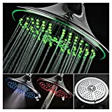 DreamSpa Ultra-Luxury Extra-large 8 Inch Chrome Face 5-Setting Rainfall LED Shower-Head by Top Brand Manufacturer. Color of LED lights changes automatically according to water temperature
