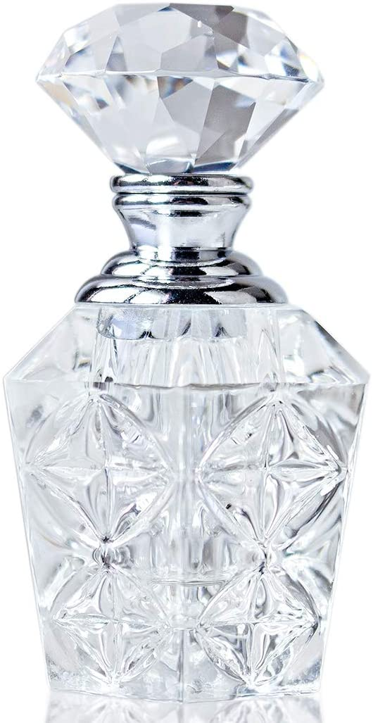 H&D Clear Mini Art Carved Crystal Empty Mini Refillable Perfume Bottle