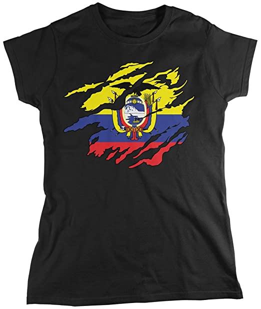 Ecuador bandera a través de, Rip Out Camiseta para mujer, diseño de bandera de