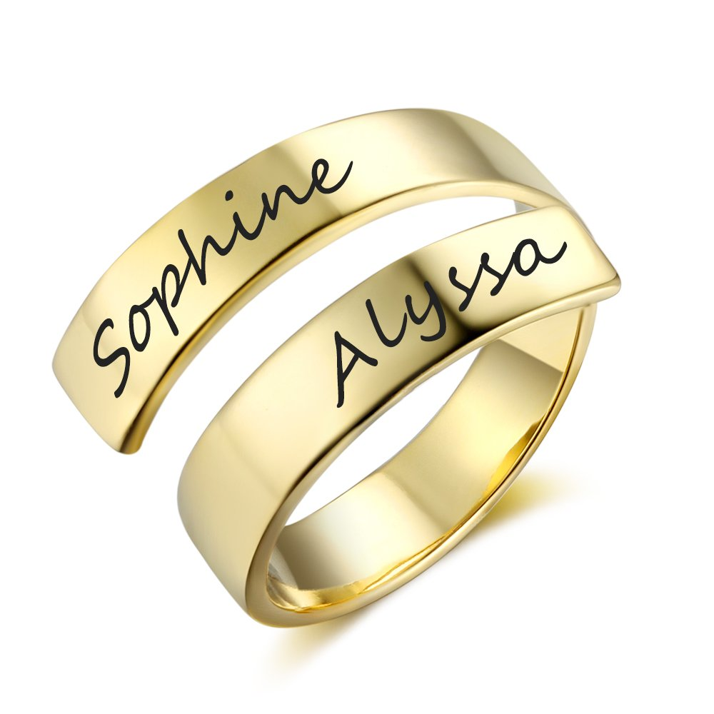 Love Jewelry Personalized Spiral Twist Ring Engraved Names BFF Personalized Gift Mother-Daughter Promise Ring Her (Gold) by Love Jewelry (Image #1)