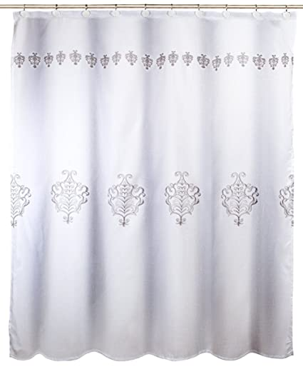 Vintage White Decorative Fabric Shower Curtain Includes PEVA Liner Mildew Resistant