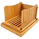 PURENJOY Bamboo Wood Foldable Bread Slicer Compact Bread Slicing Guide with Crumb Catcher Tray for Homemade Bread…