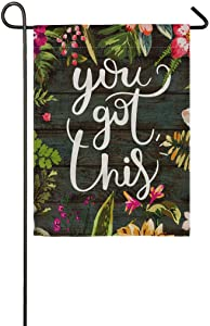 "pingpi Floral Double Sided Burlap Garden Flag 12.5""x18"" Motiavation Quote You Got This Inspirational Quote Garden Flag"