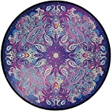 Printing Round Rug,Ethnic,Spirituality Symbol Yoga Meditation Cosmos Theme Psychedelic Composition Decorative Mat Non-Slip Soft Entrance Mat Door Floor Rug Area Rug For Chair Living Room,Aqua Pink Nav