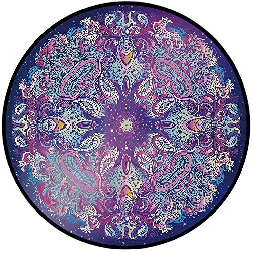 Printing Round Rug,Ethnic,Spirituality Symbol Yoga Meditation Cosmos Theme Psychedelic Composition Decorative Mat Non-Slip Soft Entrance Mat Door Floor Rug Area Rug For Chair Living Room,Aqua Pink Nav by iPrint