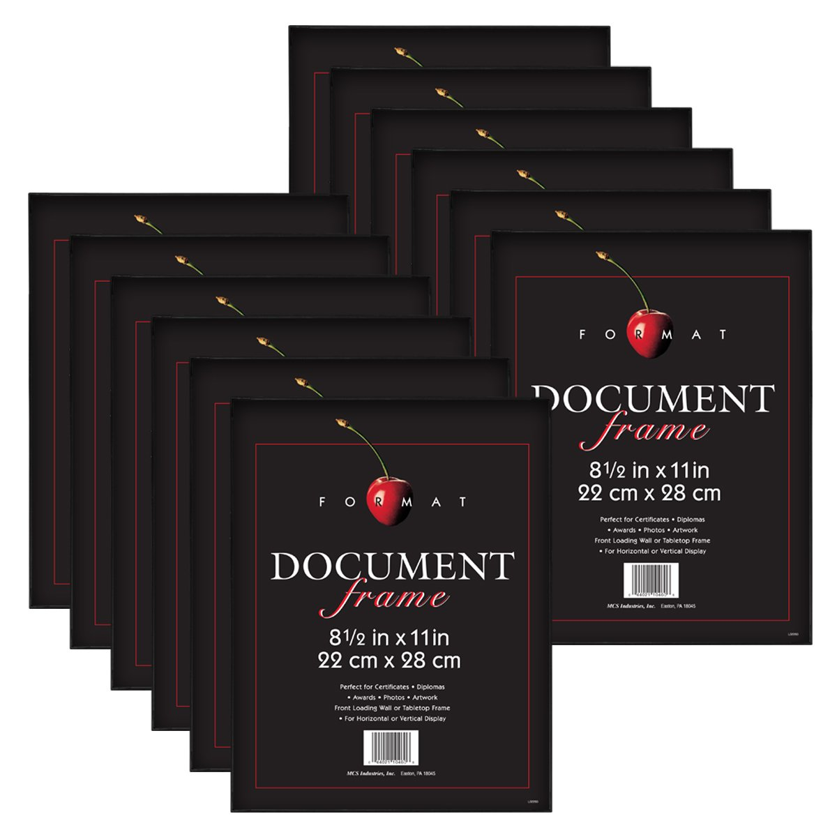 MCS 8.5x11 Inch Format Frame 12-Pack, Black (65640) by MCS