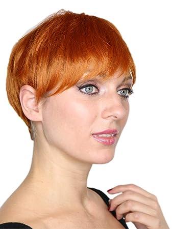 Prettyland Orange Kurze Perucke Unisex Damen Herren Stufen Schnitt Glatt Sommer Pixie Cut Frisur C643