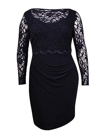 RALPH LAUREN Lauren Women\u0027s Lace Popover Ruched Jersey Dress (2P, Black)