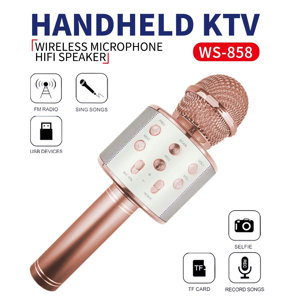 Party Gifts for Girls Kids, Wireless Karaoke Microphone Toys for 6-12 Year Old Girls Kids Karaoke Micrphone Machine for Kids Birthday Party Gift for Girls Age 4-12 Rose Gold MIC