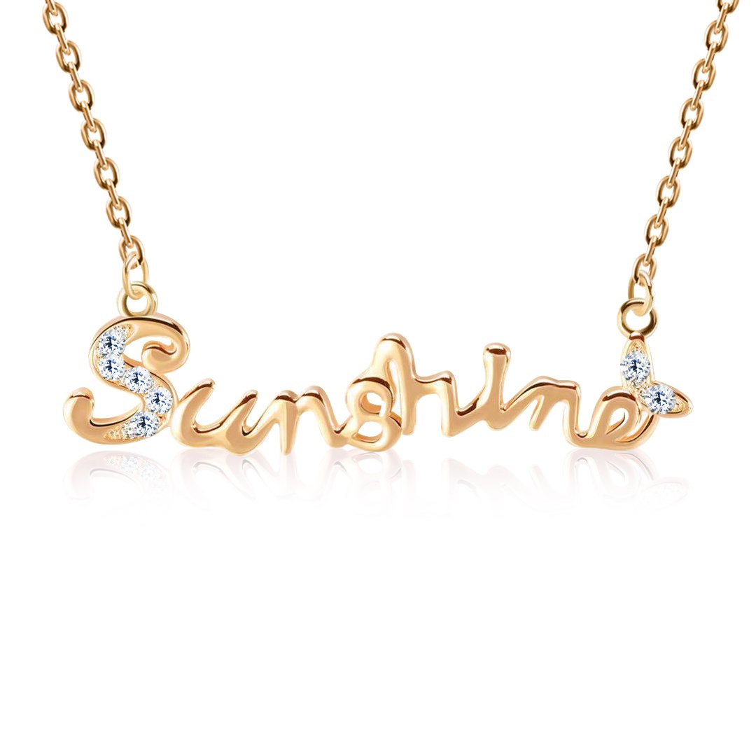 """Kigmay Jewelry Rose Gold Plated CZ Encrusted /""""Sunshine/"""" Message Pendant Necklace for Women Perfect Valentines-Day Accessory 16/"""""""