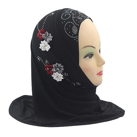 0c80a938cf7d Amazon.com: Modest Beauty girls Muslim Islamic Scarf Hijab Handmade flower  lovely Rhinestone Headscarf for Kids Black: Clothing