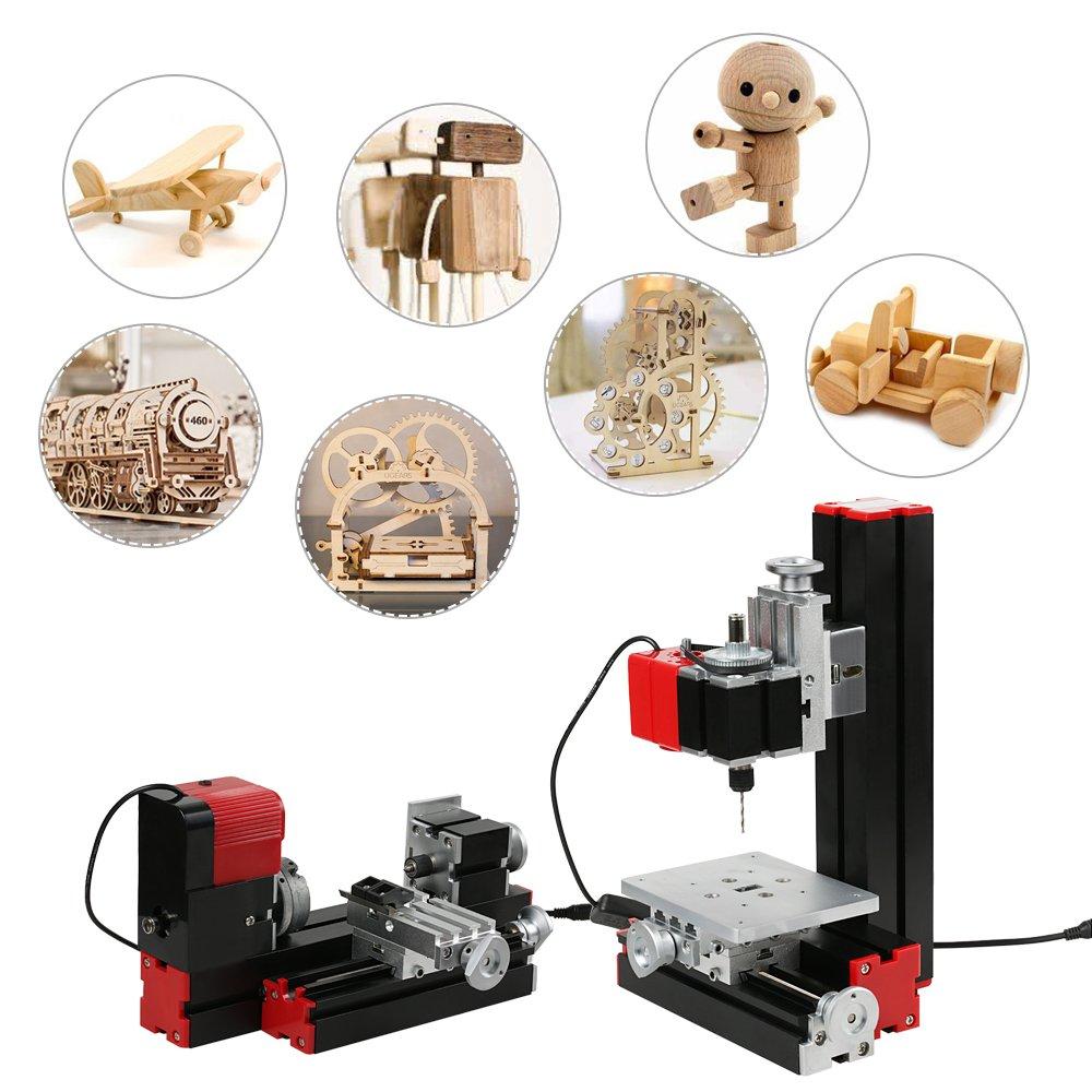 KKmoon Mini DIY 6 in 1 Multi-functional Motorized Transformer Jigsaw Grinder Driller Hardware Lathe Wood Lathe Drilling Sanding Turning Milling Sawing Machine Tool Kit Metal Version