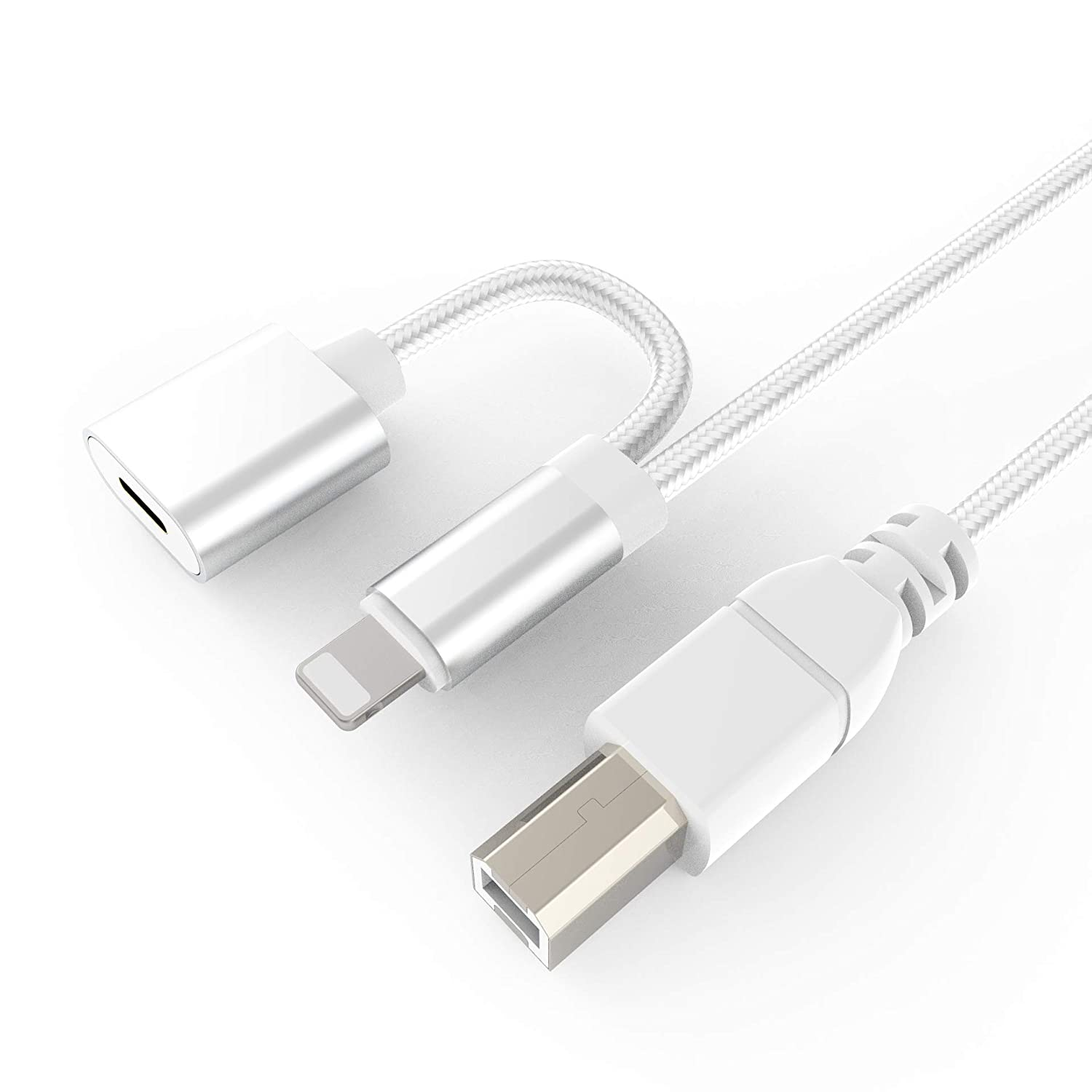MIDI Cable for iPad to Piano/Midi Keyboard/Audio DAC/Electronic Instrument/USB Microphone, USB 2.0 Type-B to MIDI OTG Cord with Charger Compatible with i-Pad/i-Phone/i-Pod -3.3 FT(White)