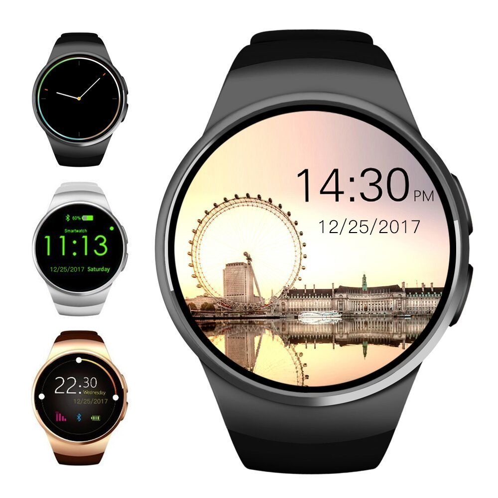 Evershop Bluetooth Smart Watch 1.5 inches IPS Round Touch Screen Water Resistant Smartwatch Phone with SIM Card Slot, Sleep Monitor, Heart Rate Monitor and Pedometer for IOS and Android Device (Black)