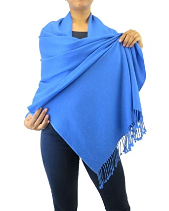 dca5c3ebb Pure Cashmere Pashmina Wrap 3 Ply Dark Blue at Amazon Women's ...