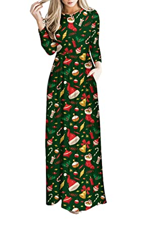 pink queen womens long maxi christmas tree printed nightmare before christmas dress - Christmas Dresses
