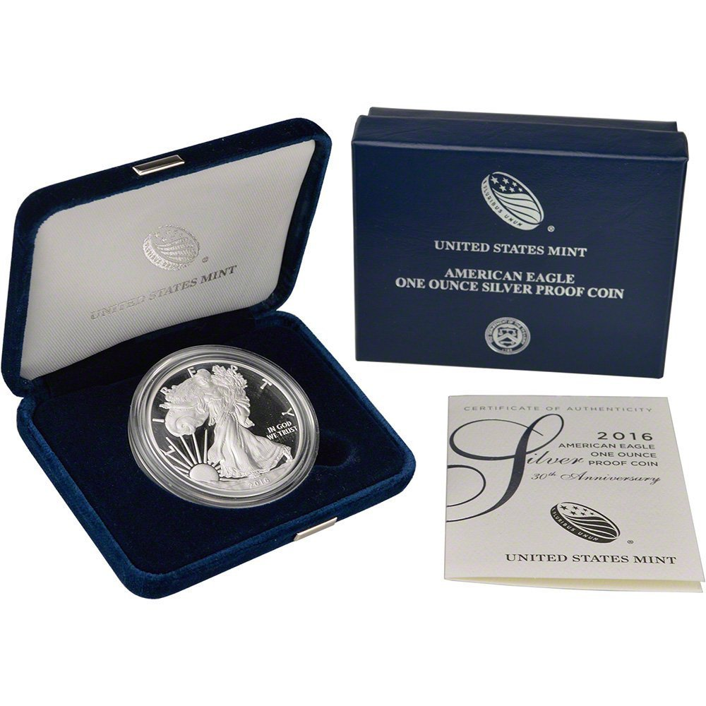 2016 W American Silver Eagle Proof $1 OGP US Mint