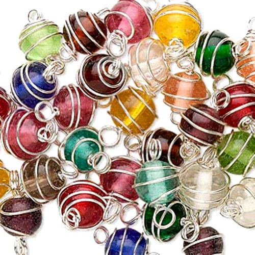 Silver Plated Wire Wrapped Round Glass Beads Matching Multicolored Handmade 9x8mm-10x9mm (50)
