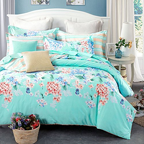 FenDie Soft Hand Feel Full Cotton Bedding Duvet Cover Sets (1 Duvet Cover + 2 Pillowcases) Well Printed Comfortable Bedding Sets Suit Four Season (Queen,Flower)