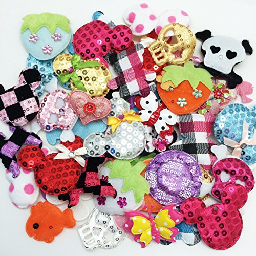 50pc Assorted Fish, Butterflies, Strawberries, Flowers, Skulls & More Padded ...