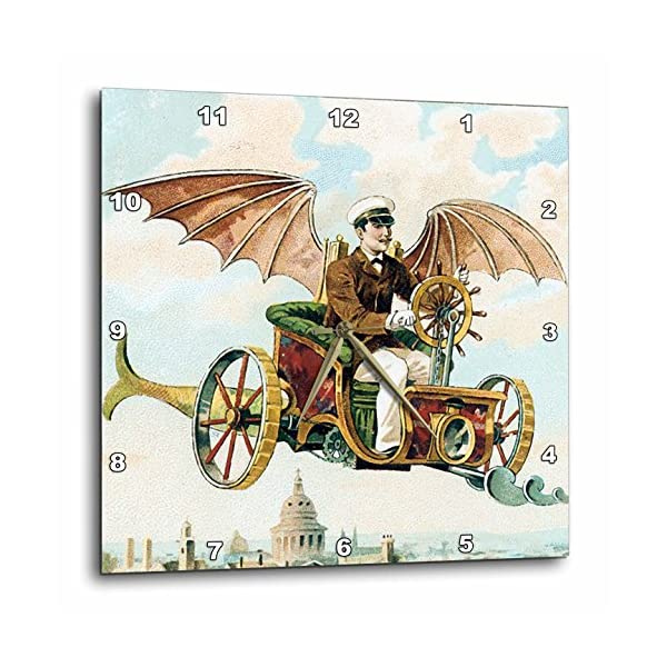3dRose DPP_102667_2 Vintage Steampunk Flying Machine Dirigible Design-Wall Clock, 13 by 13-Inch 3