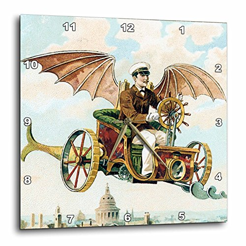 3dRose DPP_102667_2 Vintage Steampunk Flying Machine Dirigible Design-Wall Clock, 13 by 13-Inch