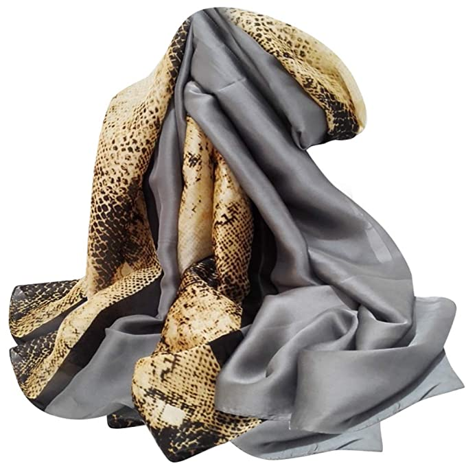 95e21cb4a67f Silk Scarf For Women s Ladies Lightweight Animal Print Scarves Shawls  Luxury Gift for Christmas (Croc