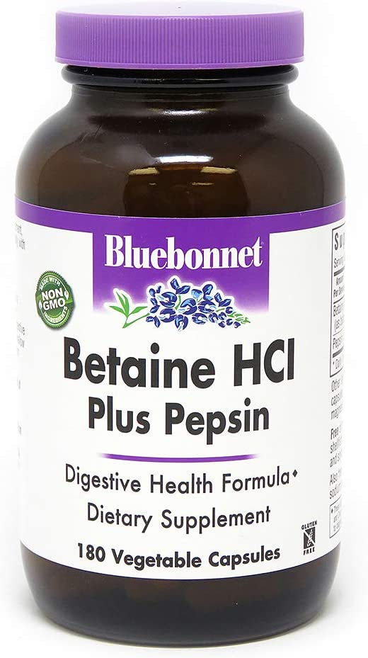 BlueBonnet Betaine HCI Plus Pepsin Vegetarian Capsules, 180 Count, White (743715008977)