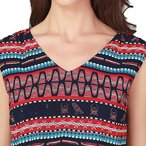 Elegante Maniche Shirt Summer Sexy Leisure Stampa C Senza Comfort National Bicchierini Women's Bicolore 2018 Navel Fashion Beach FFLLAS T Rq1vOv