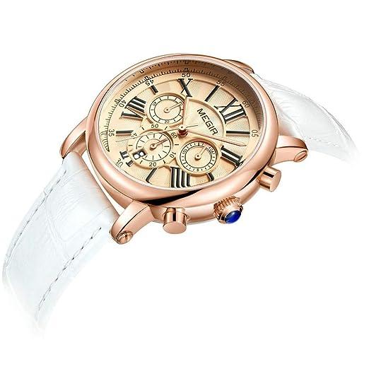 6451c1cf4b50 HWCOO Hermoso Relojes de Pulsera MEGIR 2058L Reloj de Cuarzo para Mujer  Fecha automática Pequeño Reloj de Pulsera de Moda de Tres Piezas (Color    2)  ...