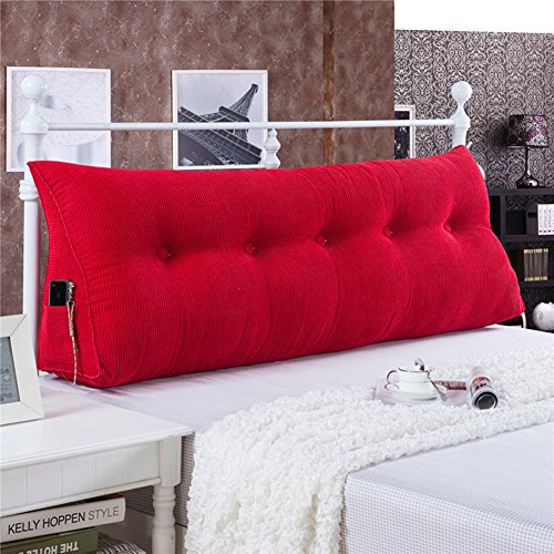 WOWMAX PP-Cotton Filled Triangular Wedge Pillow Positioning Support Reading Backrest Cushion for Sofa Bed Day Bed and Upholstered Headboard with Removable and Washable Cover Red 59x7.9x19inch (Backrest Upholstered)