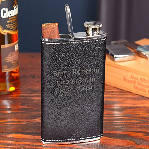 (Llewellyn Custom Black Leather Flask & Cigar Holder by HomeWetBar | 2 in 1 Cigar Flask)