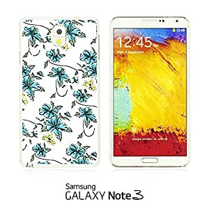 OnlineBestDigital - Flower Pattern Hardback Case for Samsung Galaxy Note 3 N9000 - Small Blue Floral Print