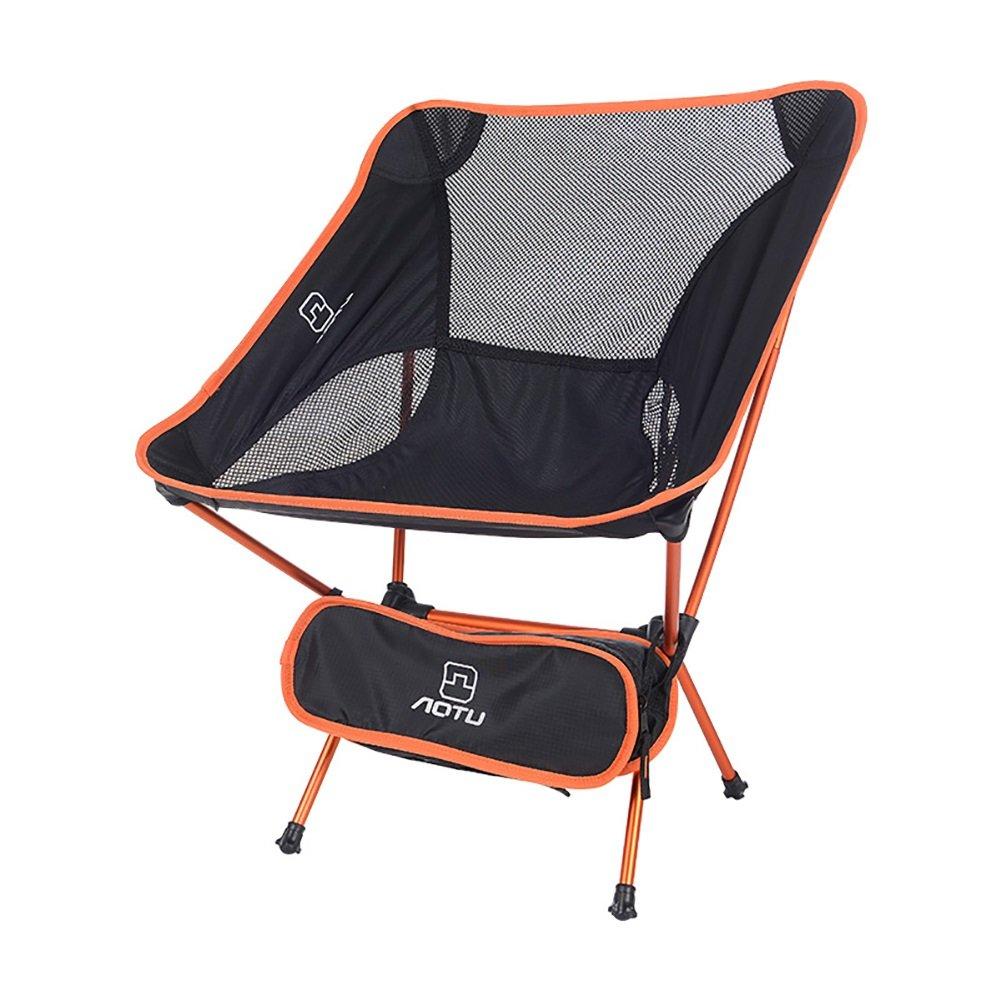 屋外折りたたみ椅子ポータブル超軽量ムーンチェア航空アルミニウム釣りチェアレジャーチェア (色 : オレンジ) B07DNN8T58 オレンジ オレンジ