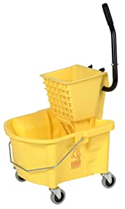 """Continental 226-312YW, Yellow Splash Guard Combo Pack Bucket with 3"""" Non-Marking Grey Casters and SW12 Side-Press Wringer, 26 quart Capacity (Case of 1)"""