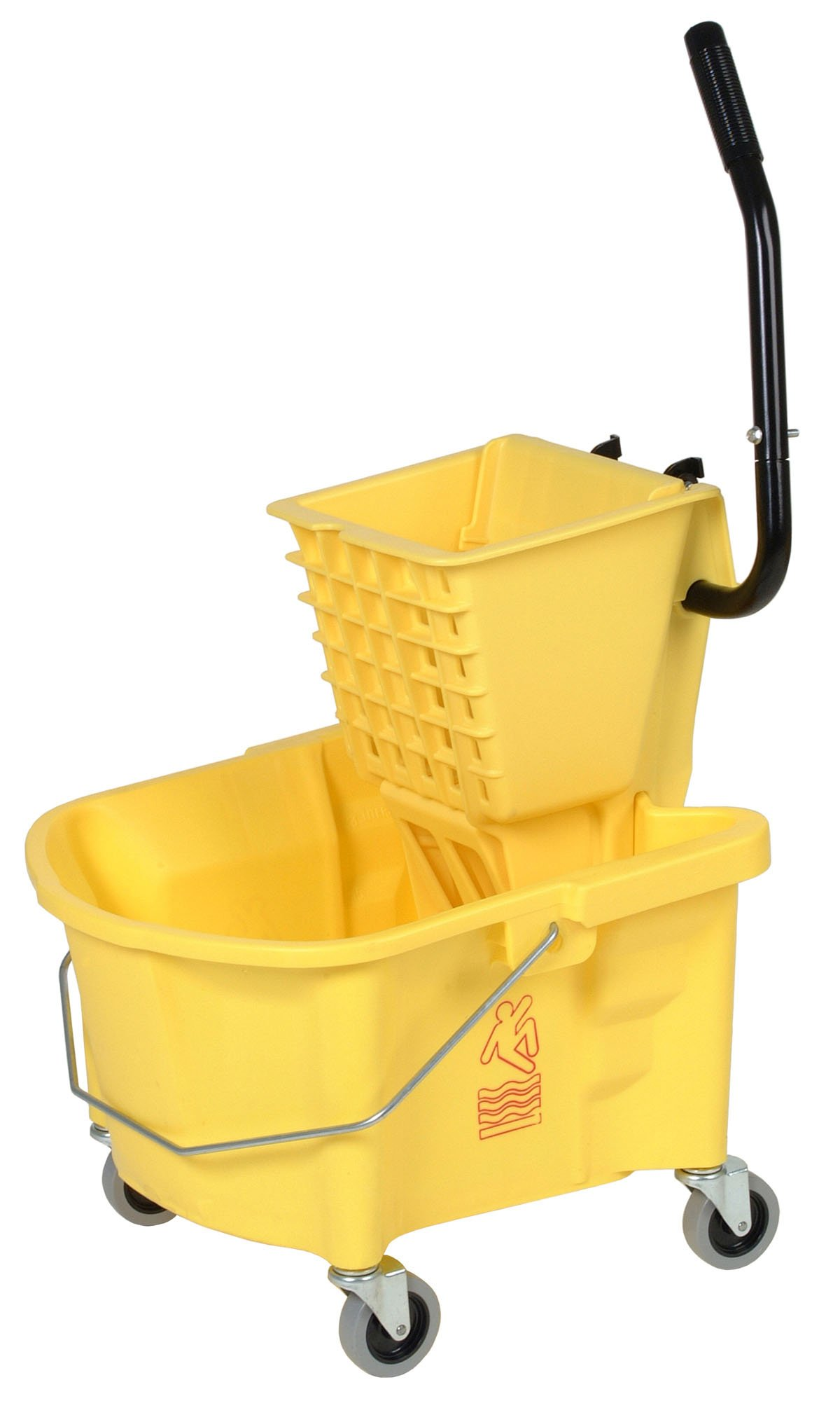 Continental 226-312YW, Yellow Splash Guard Combo Pack Bucket with 3'' Non-Marking Grey Casters and SW12 Side-Press Wringer, 26 quart Capacity (Case of 1)