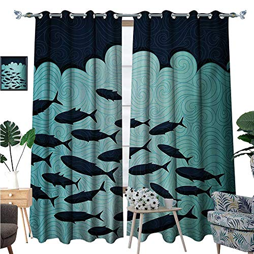Fish Blackout Window Curtain Surreal Ornate Swirl Waves and Group of Fish with Nautical Under The Sea Theme Customized Curtains W96 x L84 Blue Turquoise -
